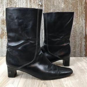 Cole Haan Black Leather Heeled Boots